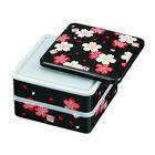 Hakoya 18.0 Square 2 Layers Lunch Box Sakura Makie Black