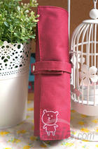 Little Bear Canvas Roll Pencil Case (Ruby Red)
