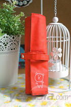 Little Bear Canvas Roll Pencil Case (Red)