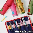 Roll Pencil Case ( Rose Red )