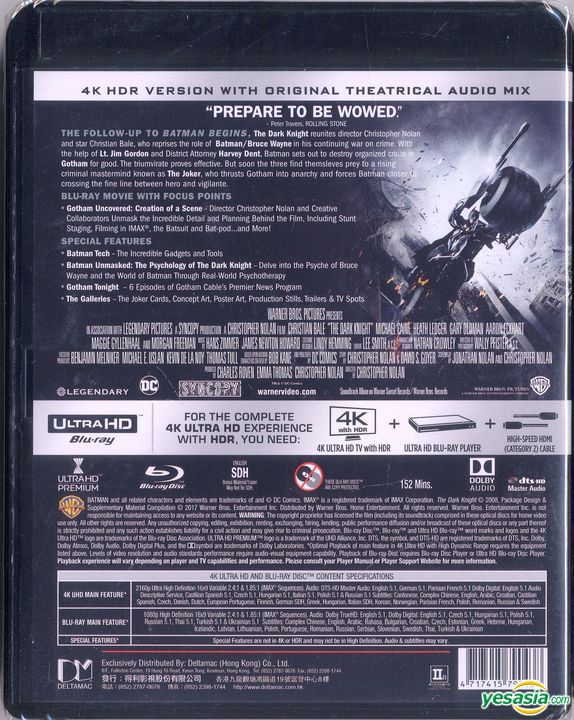 Yesasia The Dark Knight 2008 4k Ultra Hd 2 Blu Ray 3 Disc Edition Hong Kong Version Blu Ray Christian Bale Michael Caine Warner Entertainment Japan Western World Movies Videos