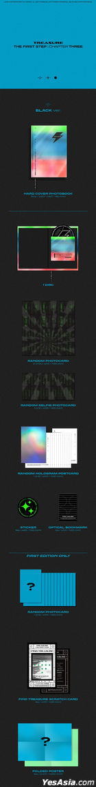 TREASURE Single Album Vol. 3 - THE FIRST STEP : CHAPTER THREE (White + Black Version) + 2 Double-sided Posters in Tube