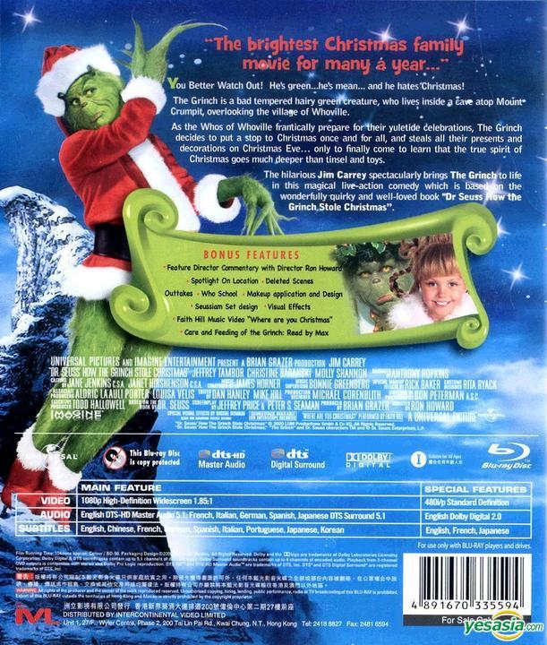 Yesasia How The Grinch Stole Christmas 2000 Blu Ray Hong Kong Version Blu Ray Jim Carrey Jeffrey Tambor Intercontinental Video Hk Western World Movies Videos Free Shipping