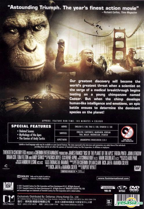 Yesasia Rise Of The Planet Of The Apes 2011 Dvd Hong Kong Version Dvd James Franco Freida Pinto 20th Century Fox Western World Movies Videos Free Shipping
