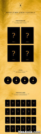 Monsta X Mini Album - FANTASIA X (Version 1 + 2 + 3 + 4) + 4 Posters in Tube