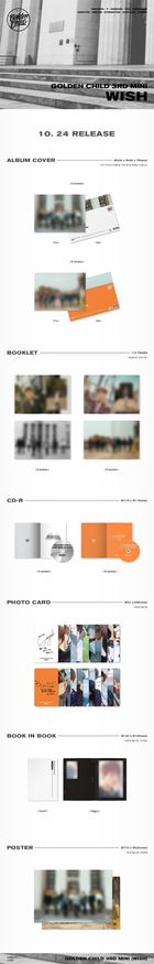 Golden Child Mini Album Vol. 3 - WISH (Random Version) + 2 Posters in Tube
