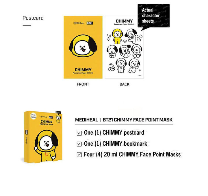 YESASIA: BTS BT21 Face Point Mask Set (CHIMMY): Point Mask