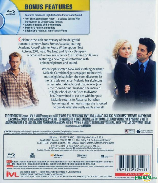 Yesasia Sweet Home Alabama 2002 Blu Ray 10th Anniversary Edition Hong Kong Version Blu Ray Reese Witherspoon Josh Lucas Intercontinental Video Hk Western World Movies Videos Free Shipping