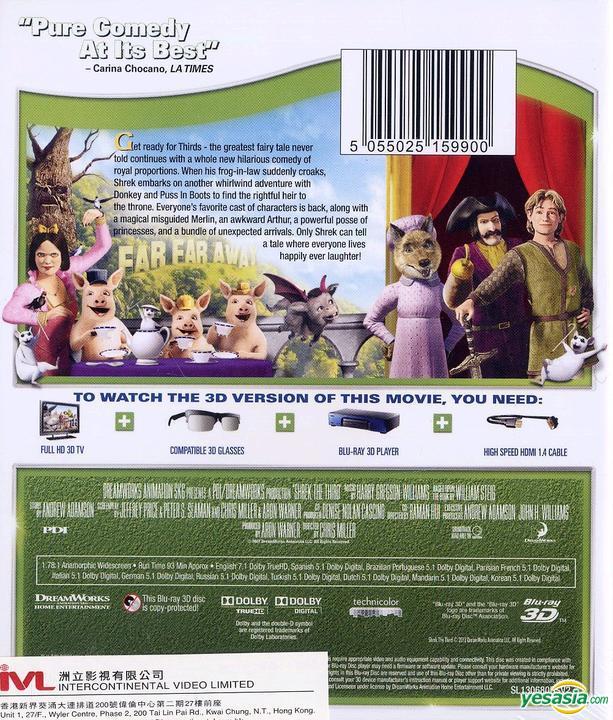 Yesasia Shrek The Third 2007 Blu Ray 3d Hong Kong Version Blu Ray Raman Hui Chris Miller Intercontinental Video Hk Western World Movies Videos Free Shipping