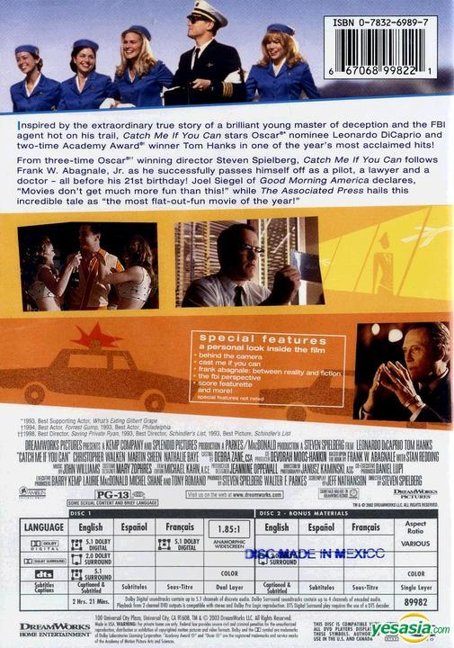 Yesasia Catch Me If You Can 2002 Dvd Us Version Dvd Christopher Walken Tom Hanks Dreamworks Home Entertainment Western World Movies Videos Free Shipping